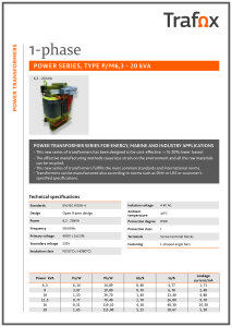 1-PHASE POWER TRANSFORMERS